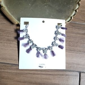 Express feather gemstone silver choker necklace